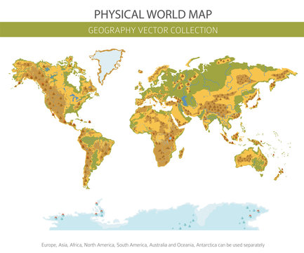 Physical world map elements. Build your own geography info graphic collection