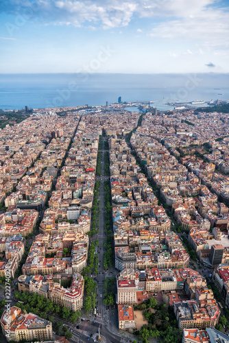 Barcelona Aerial View With City Skyline Spain Stock Photo And