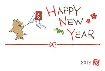 亥年 凧揚げをするイノシシの年賀状