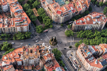 Barcelona aerial straight down camera , Eixample streets and buildings famous urban grid, Spain.