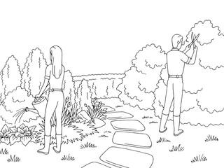 Gardeners working in the garden graphic black white landscape sketch illustration vector