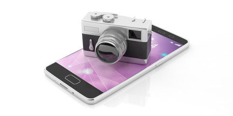 Retro camera on mobile phone, isolated on white background, 3d illustration.