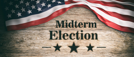 USA flag and midterm elections, wooden background, 3d illustration