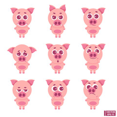 Set of emoji cute pig.