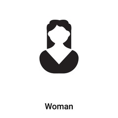 Woman icon vector isolated on white background, logo concept of Woman sign on transparent background, black filled symbol