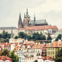 Beautiful castle in Prague, yellow filter