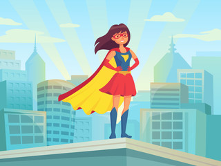 Super woman watching city. Wonder hero girl in suit with cloak at town roof. Comic female superhero on cityscape vector illustration