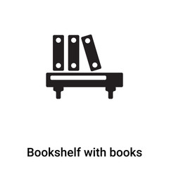 Bookshelf with books icon vector isolated on white background, logo concept of Bookshelf with books sign on transparent background, black filled symbol