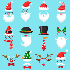 Christmas cartoon hats. Xmas santa hat, elf cap and reindeer photo mask. Santas beard and mustaches vector set