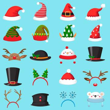 Cartoon christmas hat. Xmas different hats, winter masquerade masks. Elves ears, deer horns and snowman mask vector set