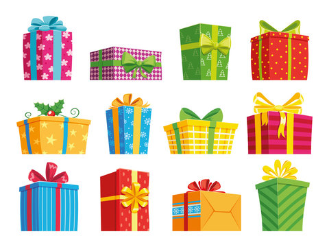 Cartoon gift box. Christmas presents, gifting boxes and present winter holidays gifts. Secret boxing with surprises vector set