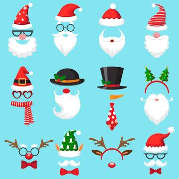 Christmas cartoon hats. Xmas santa hat, elf cap and reindeer photo mask. Santas beard and mustaches vector set