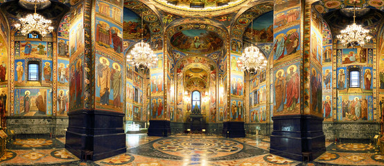 Photo sur Aluminium Edifice religieux Interior of the Church of the Savior on Spilled Blood in St. Petersburg, Russia