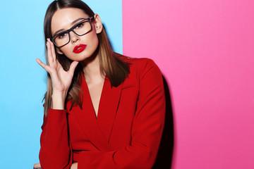 Fashion woman in glasses.
