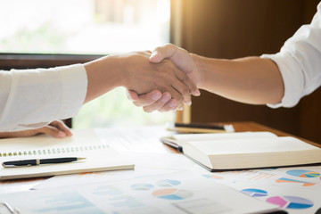 handshake success dealing, Two confident business man meeting in the office, greeting and partner concept