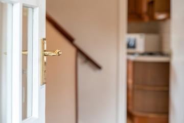 Brass door knob  white door