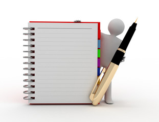 3d white person with blank spiral notepad and a pen