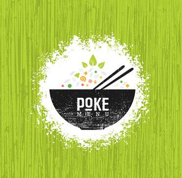 Poke Bowl Hawaiian Cuisine Restaurant Vector Design Element. Healthy Food Menu Creative Rough Illustration