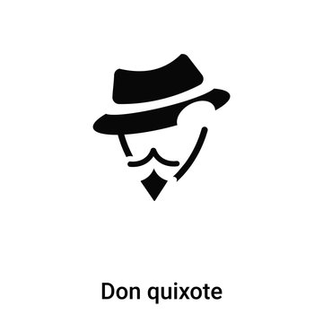 Don quixote icon vector isolated on white background, logo concept of Don quixote sign on transparent background, black filled symbol