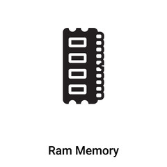 Ram Memory icon vector isolated on white background, logo concept of Ram Memory sign on transparent background, black filled symbol
