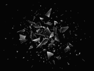 Obraz Shards of broken glass. Abstract explosion. Realistic vector background - fototapety do salonu