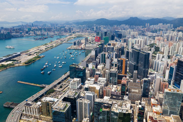 Aerial view of Hong Kong skyline