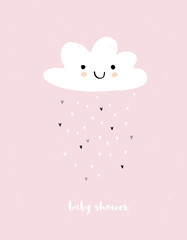 Cute Simple Baby Shower Vector Card. White Fluffy Smiling Cloud on a Light Pink Grunge Background. Rain of Irregular Shape Tiny Hearts. White Baby Shower Text.