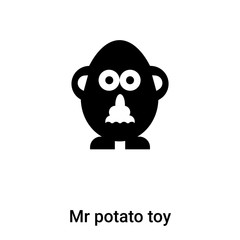 Mr potato toy icon vector isolated on white background, logo concept of Mr potato toy sign on transparent background, black filled symbol