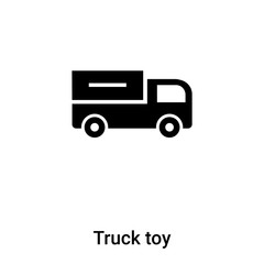 Truck toy icon vector isolated on white background, logo concept of Truck toy sign on transparent background, black filled symbol