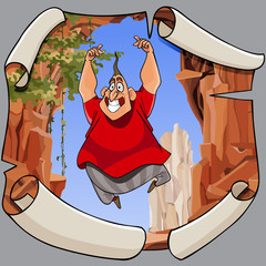 cartoon joyful man in a jump on the background of a ragged picture