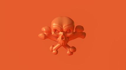 Orange Skull and Crossbones 3d illustration 3d rendering