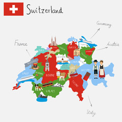 Hand drawing Switzerlamd maps with hand lettering.illustration. EPS 10.