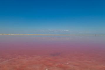 Pink Lake with blue sky landscape background