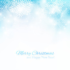 Blue Christmas background with snowflakes. Template frame for greeting cards, invitations, gift, banners. Vector illustration.