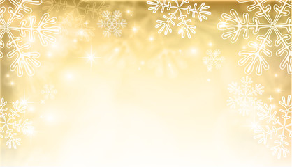 Magic gold Christmas background with snowflakes.Template for your design, flyer, card, gift, banner and poster. Vector illustration