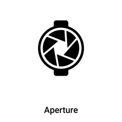Aperture icon vector isolated on white background, logo concept of Aperture sign on transparent background, black filled symbol