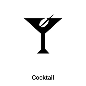 Cocktail icon vector isolated on white background, logo concept of Cocktail sign on transparent background, black filled symbol