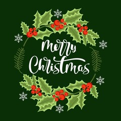 Merry Christmas hand drawn lettering. Christmas card with wreath. Vector illustration.