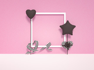 Photo Frame decoration, scrapbook template with hearts, gift box on pink background. 3d rendering