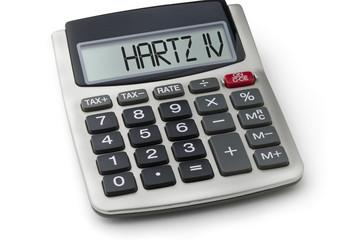 Taschenrechner mit dem Wort Hartz IV im Display