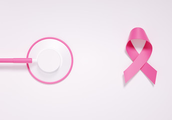 Breast cancer, medical care concept, pink ribbon and stethoscope isolated on white background, 3d rendering.