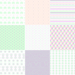 9 Seamless Patterns. Kid Set.