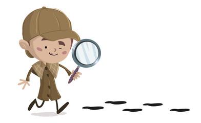 niño detective siguiendo unas huellas
