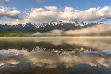 clouds lake fog mountains reflections