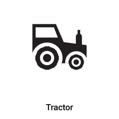 Tractor icon vector isolated on white background, logo concept of Tractor sign on transparent background, black filled symbol