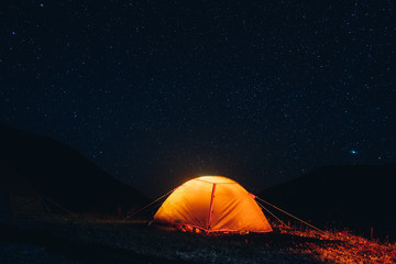 the shining tents under the star sky