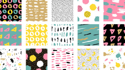 Trendy vector seamless colorful pattern with brush strokes.  Vector illustration