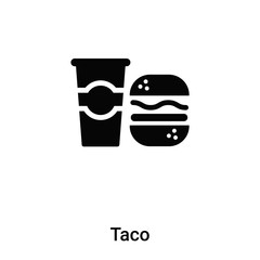 Taco icon vector isolated on white background, logo concept of Taco sign on transparent background, black filled symbol