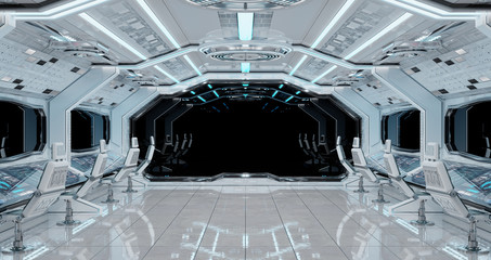 White clean spaceship interior background 3D rendering