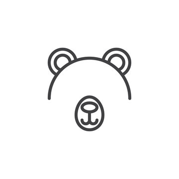 Bear mask outline icon. linear style sign for mobile concept and web design. Costume party simple line vector icon. Symbol, logo illustration. Pixel perfect vector graphics
